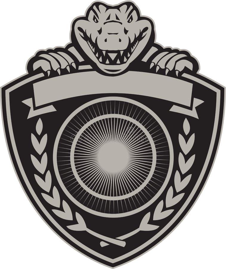 Retro Gator Hoofdwapenschild vector illustratie