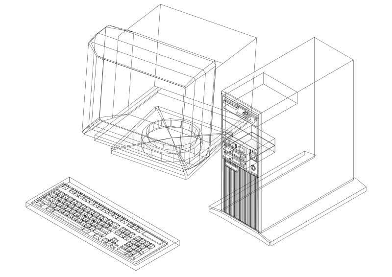 Retro geïsoleerde blauwdruk van de Computerarchitect - vector illustratie