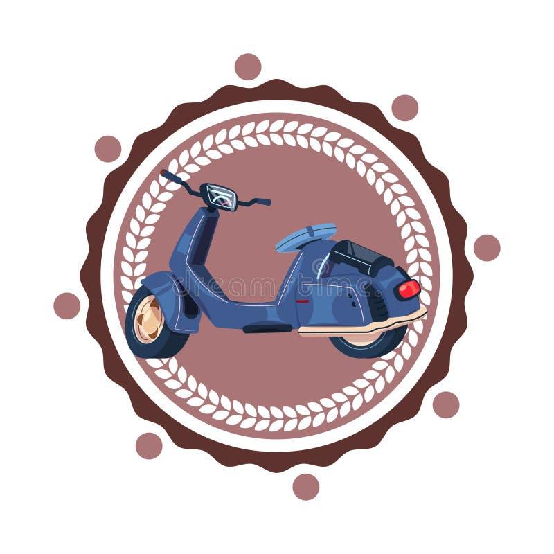 Retro Geïsoleerde Pictogram Uitstekend Logo Design van Sccoter Motorfiets vector illustratie
