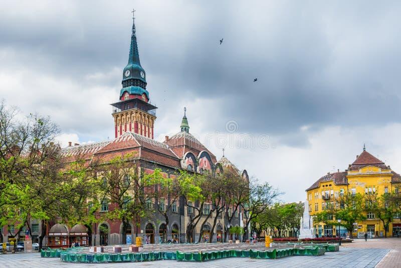 Retro- Gebäude des Rathauses in Subotica-Stadt, Serbien lizenzfreies stockbild