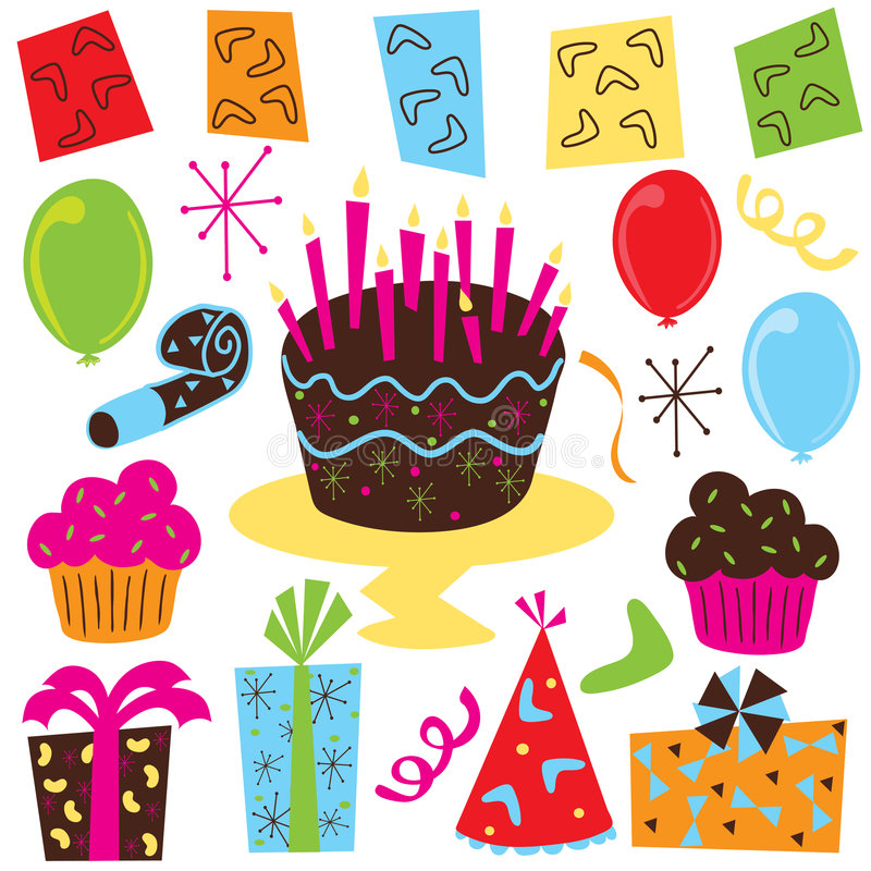 Retro- Geburtstagsfeierclipkunst stock abbildung