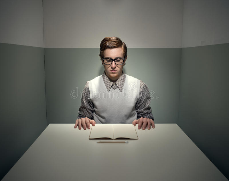 Retro geek with notebook stock image
