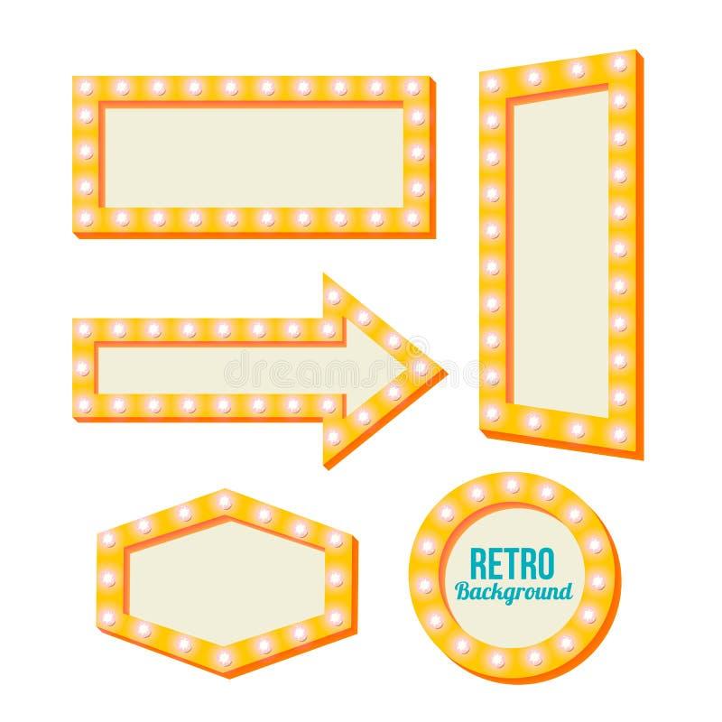 Retro geel kader Uitstekende tekens stock illustratie
