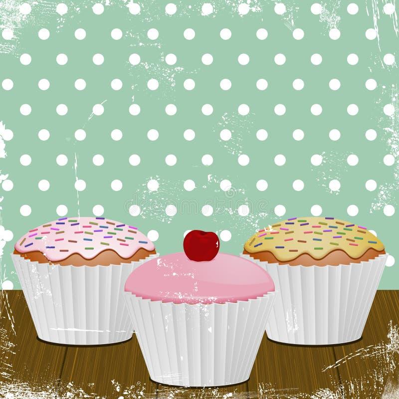 Retro- gefrorene kleine Kuchen stock abbildung