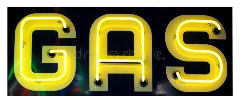 Retro Gele Teken van het Gas van het Neon stock foto's