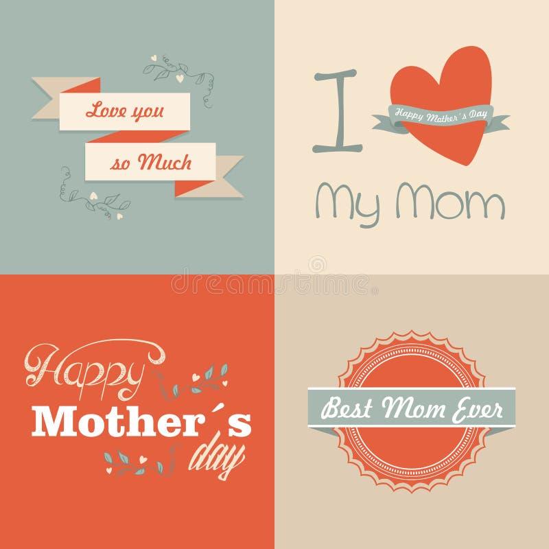Retro Gelukkige Moedersdag vector illustratie