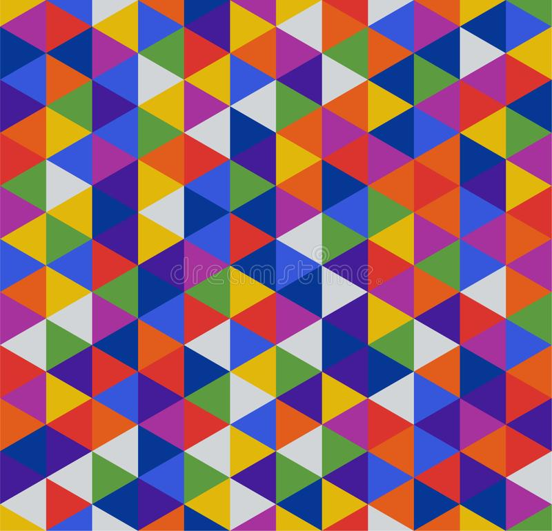 Retro geometric triangle seamless repeating background pattern. Mosaic of various shades in a rainbow of colors - yellow, orange, royalty free illustration