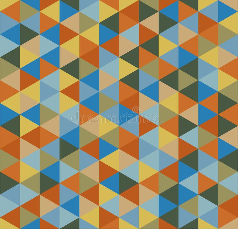 Retro geometric triangle seamless repeating background pattern in vector format. Mosaic of various shades stock illustration