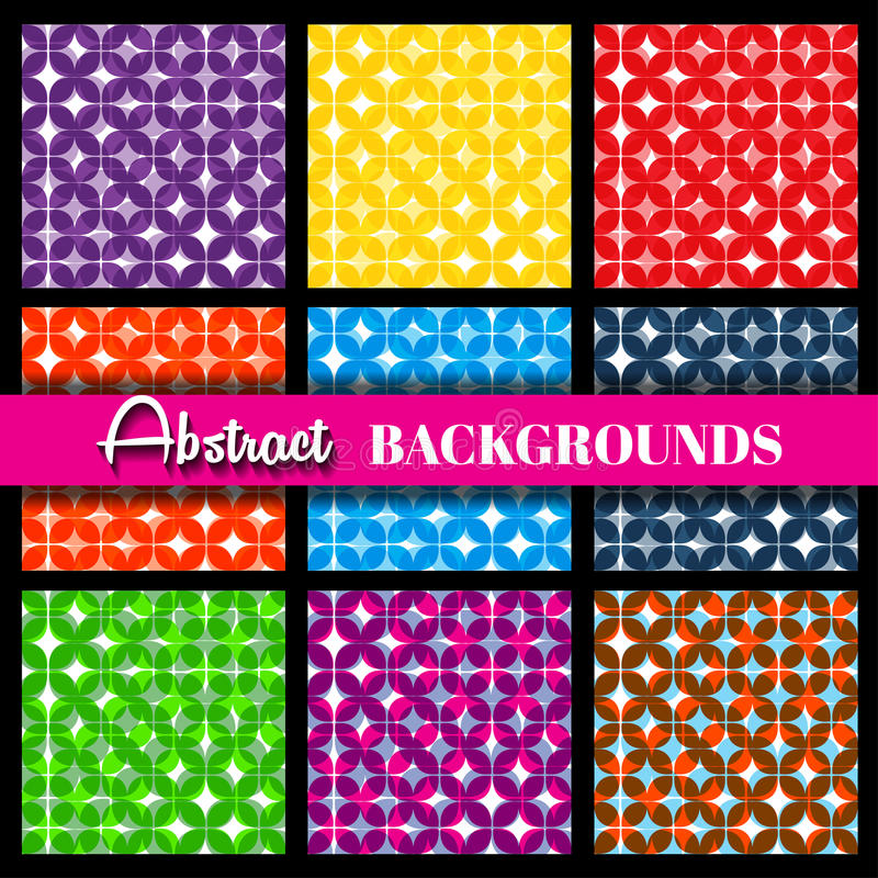 Retro geometric vector seamless patterns set royalty free illustration