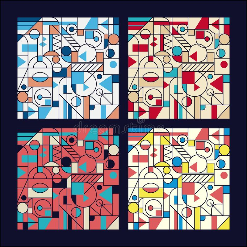 Retro geometrisch abstract Naadloos ontwerp als achtergrond Modern patroon reeks royalty-vrije illustratie