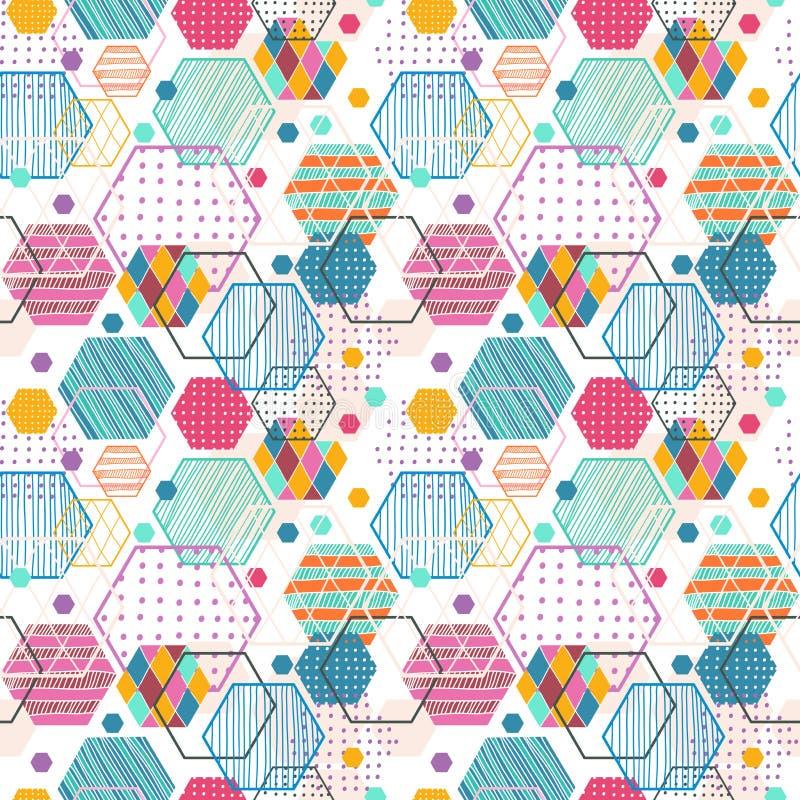 Retro geometrisch hexagon naadloos patroon royalty-vrije illustratie