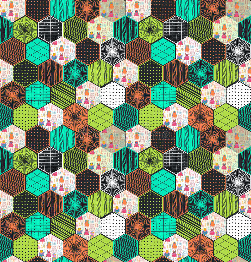 Retro geometrisch hexagon naadloos patroon met uilen vector illustratie