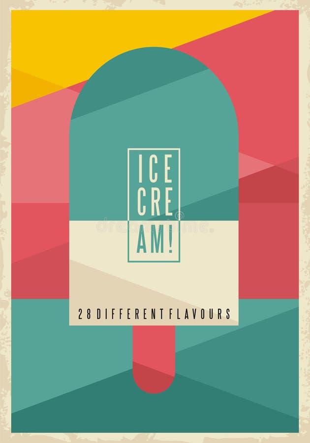 Retro- geometrisches Konzept für Eiscreme auf kreativem künstlerischem Hintergrund lizenzfreie abbildung
