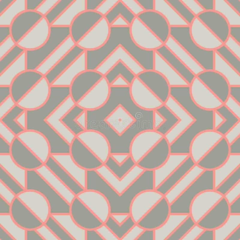 Retro geometriska beståndsdelar i mjuka färger - abstrakta linjer och diagram S?ml?sa modeller f?r ljus vektor f?r textil, tryck, stock illustrationer