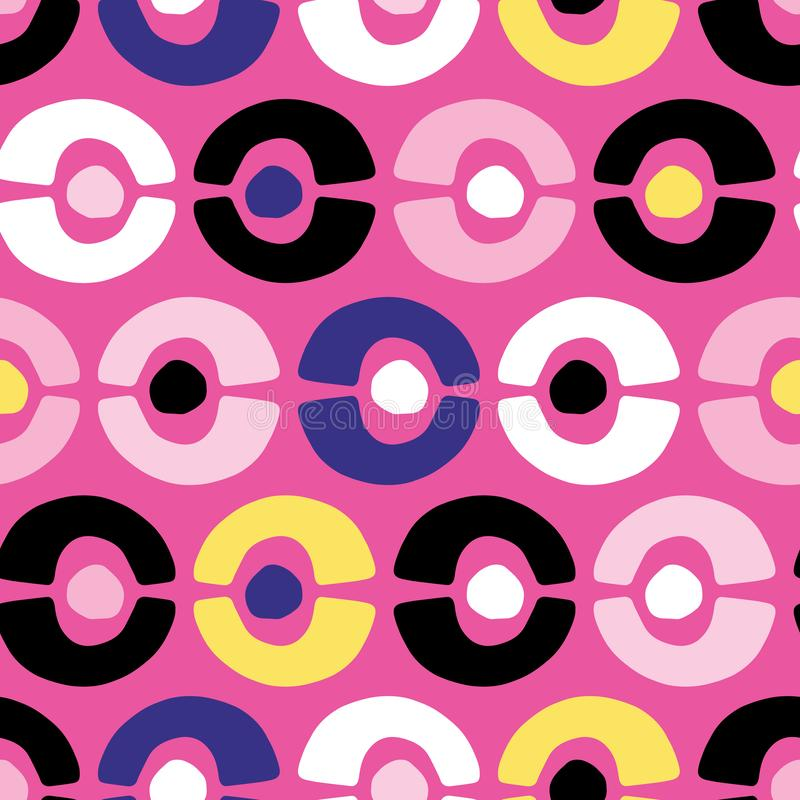 Retro geometriska cirkelcirklar S?ml?s bakgrund f?r vektormodell F?r memphis f?r hand utdragen illustration f?r band f?r prick st stock illustrationer
