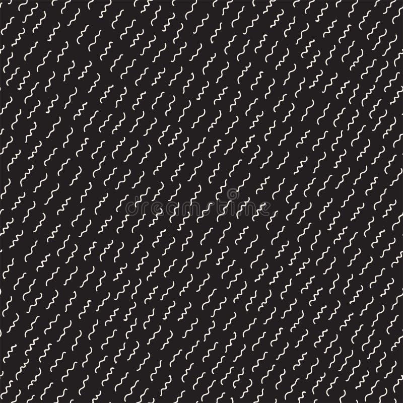 Retro geometryczni kreskowych kształtów bezszwowi wzory Abstrakcjonistyczne bigos tekstury Czarny i biały rozrzuceni kształty ilustracji