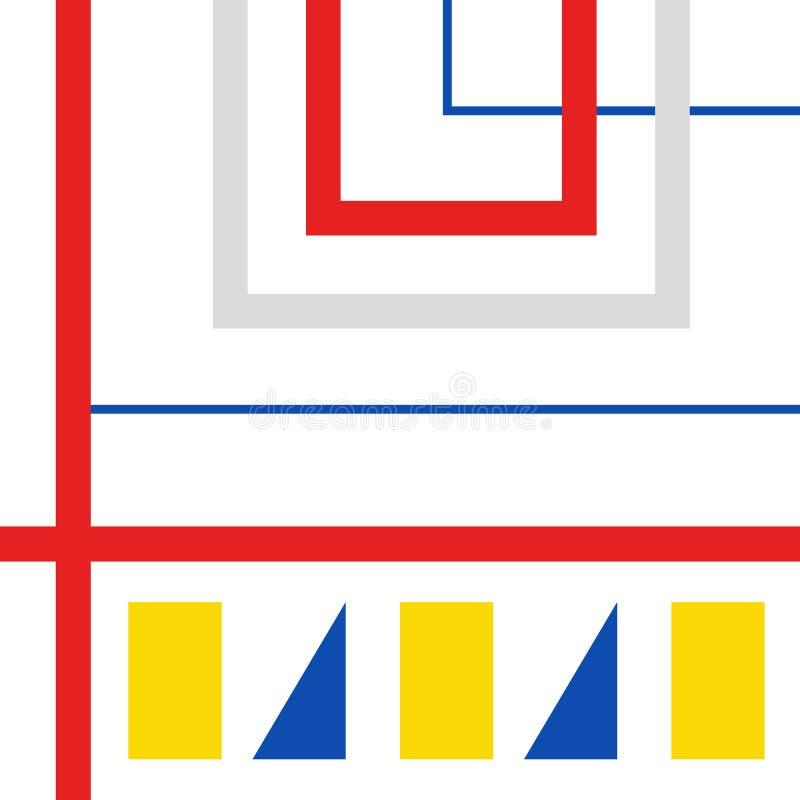 Retro geometryczny bauhaus, szwajcar, Memphis okładkowego szablonu tło ilustracja wektor