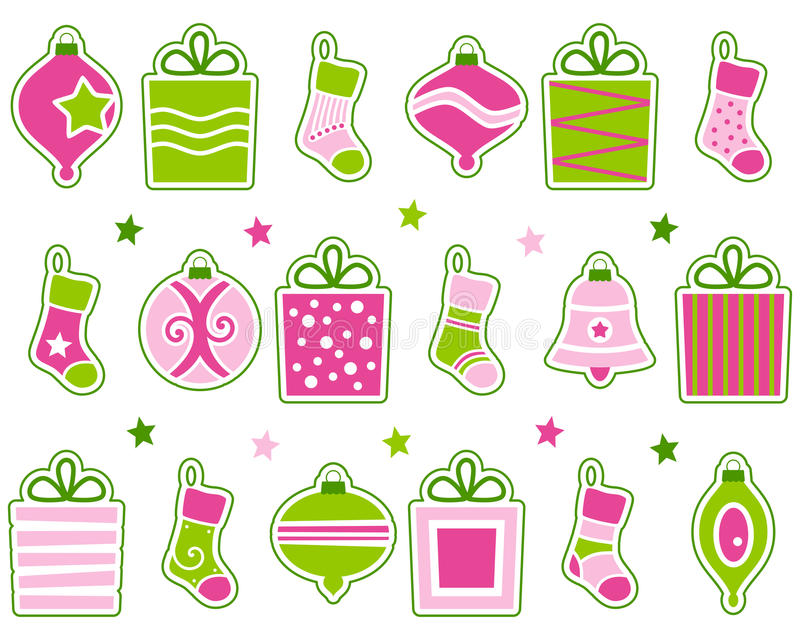 Retro Geplaatste Decoratie Van Kerstmis Royalty-vrije Stock Afbeelding