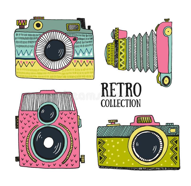 Retro geplaatste fotocamera's Vector illustratie Uitstekende camera's met ornamenten stock illustratie
