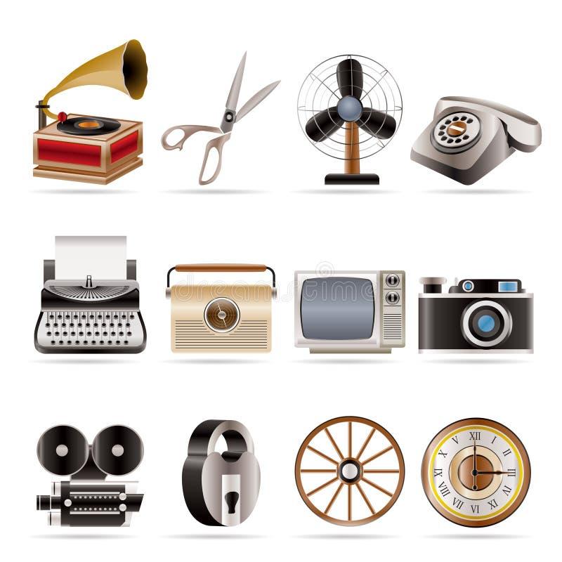 Retro- Geschäft und Büro wenden Ikonen ein lizenzfreie abbildung