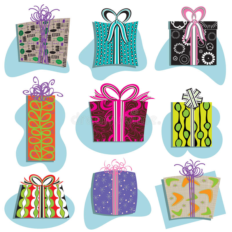 Retro- Geschenk-Kasten-Ikonen lizenzfreie abbildung