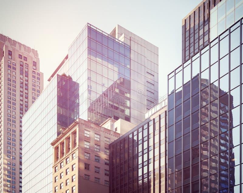 Retro gestileerd beeld van de gebouwen van Manhattan, NYC, de V.S. stock afbeeldingen