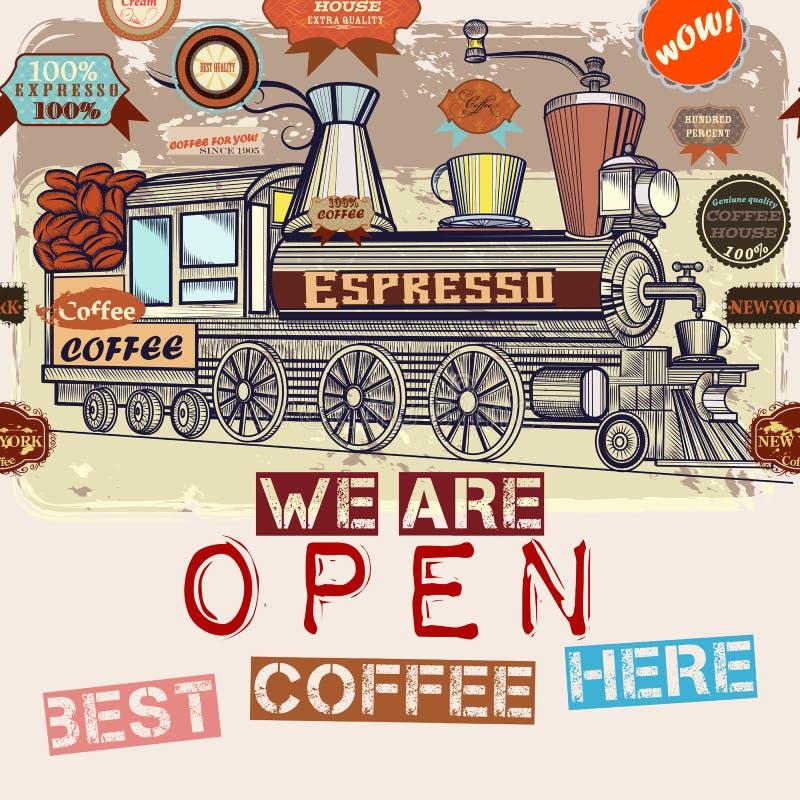 Retro gestileerde menu of affiche met vectorkoffie, trein en kenteken royalty-vrije illustratie