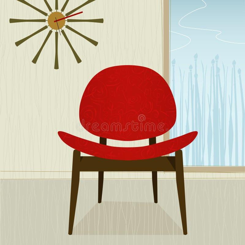 Retro-gestileerde rode stoel stock illustratie