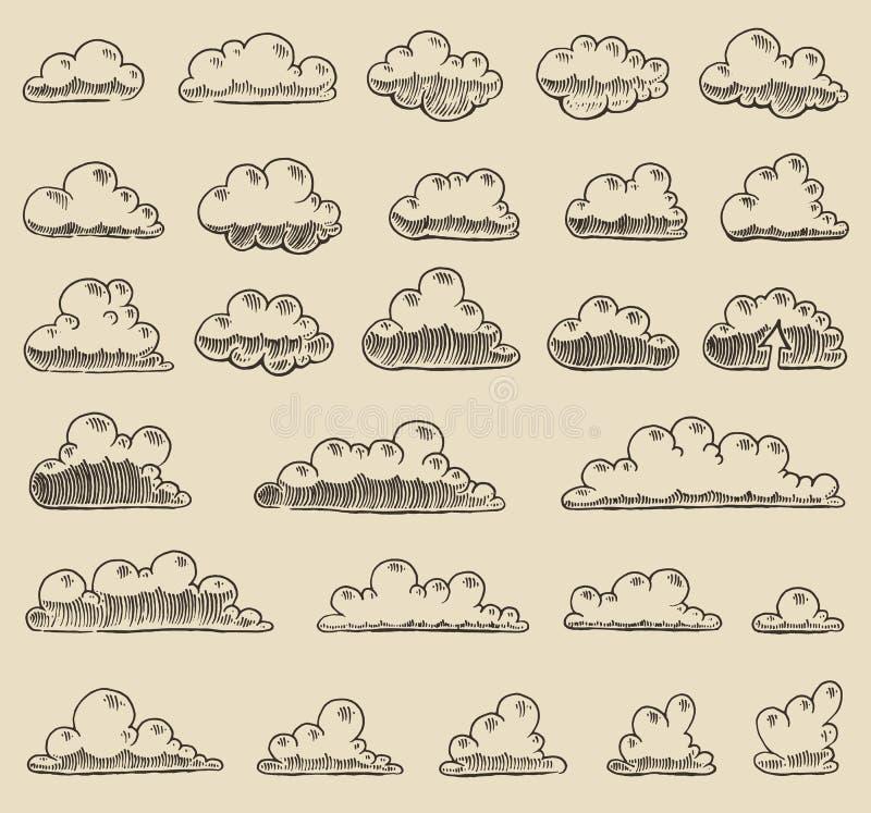 Retro getrokken schets van de wolken vectorillustratie hand royalty-vrije illustratie