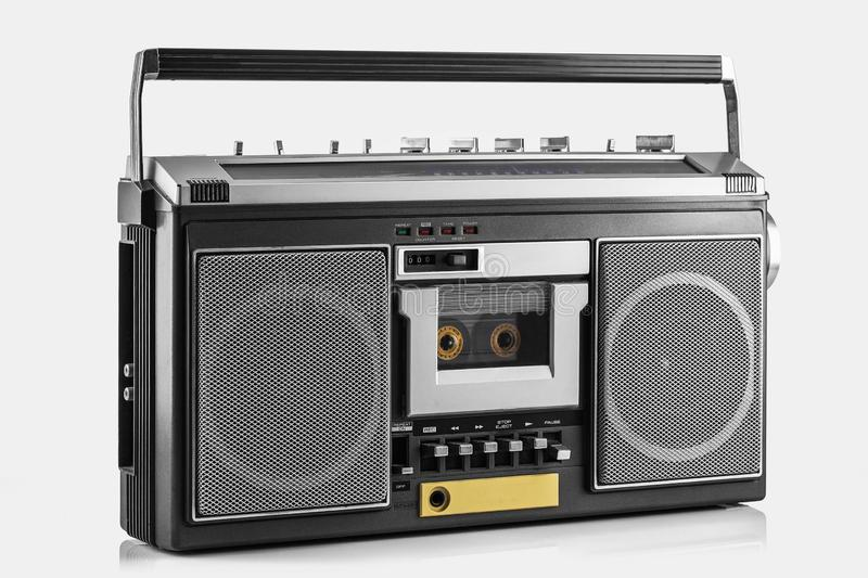 Retro ghetto blaster , disco boom box. Retro ghetto blaster on white stock photography
