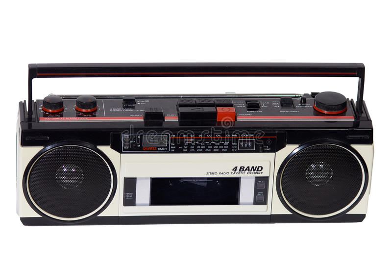 Retro ghetto blaster. Isolated with clipping path royalty free stock photography