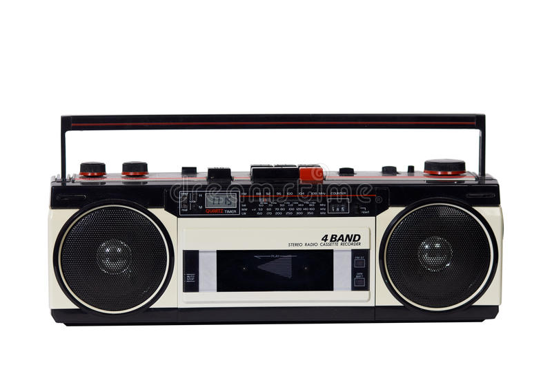 Retro ghetto blaster. Isolated with clipping path royalty free stock image