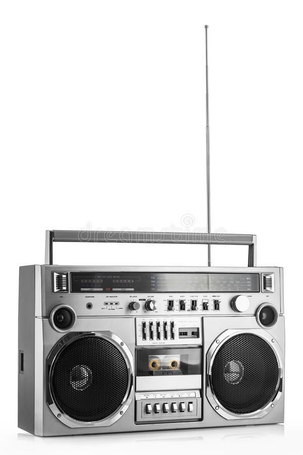 Retro ghetto blaster isolated. On white stock images