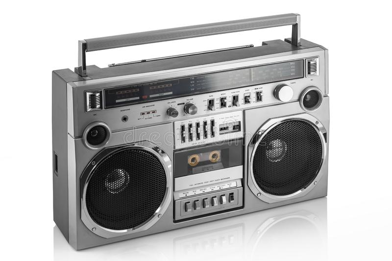 Retro ghetto blaster isolated on white.  stock photo
