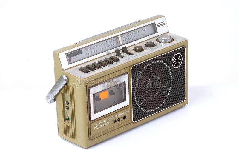 Retro ghetto blaster. Isolated on white background royalty free stock image