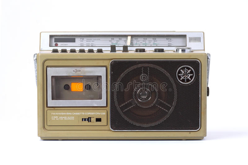Retro ghetto blaster. Isolated on white background royalty free stock photography