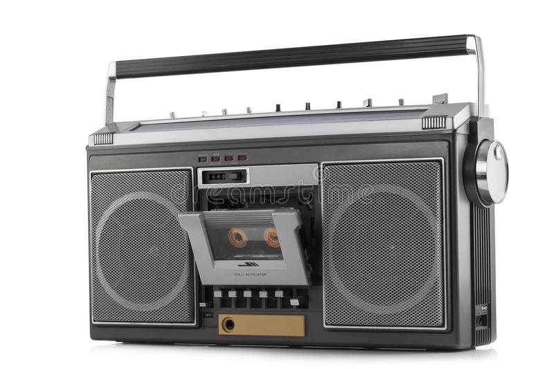 Retro ghetto blaster isolated on white. Background stock image