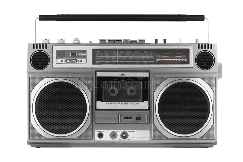 Retro ghetto blaster, isolated on white with clipping path. Retro ghetto blaster isolated on white with clipping path stock image