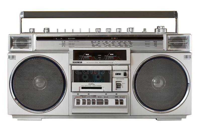 Retro ghetto blaster isolated on white with clipping path. Retro ghetto blaster isolated with clipping path royalty free stock photography