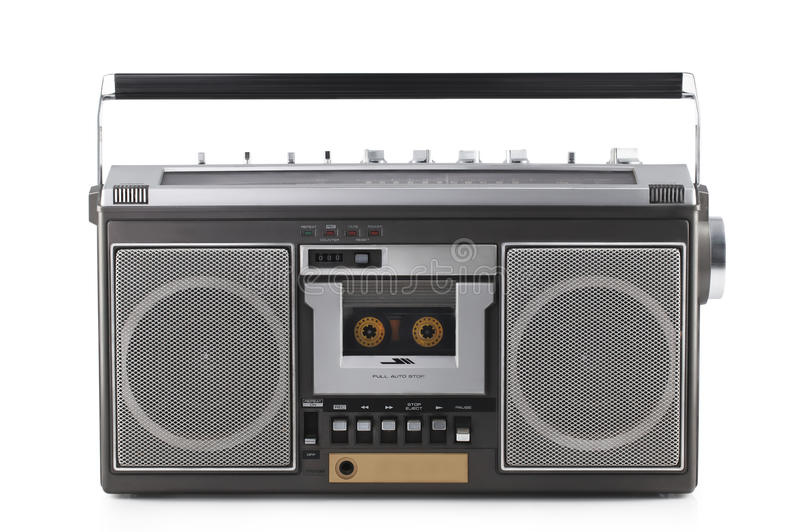 Retro ghetto blaster isolated on white with clipping path. Retro ghetto blaster isolated on white background with clipping path royalty free stock image