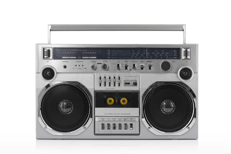 Retro ghetto blaster isolated on white with clipping path. Retro ghetto blaster isolated on white background with clipping path royalty free stock photos