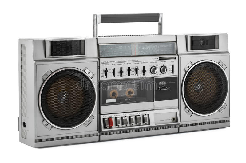 Retro ghetto blaster isolated on white with clipping path. Retro ghetto blaster isolated on white background with clipping path stock photography