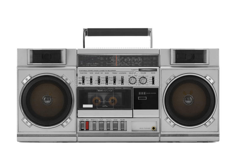 Retro ghetto blaster isolated on white with clipping path. Retro ghetto blaster isolated on white background with clipping path royalty free stock images