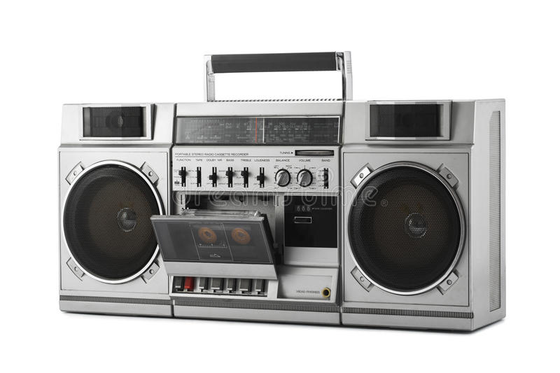 Retro ghetto blaster isolated on white with clipping path. Retro ghetto blaster isolated on white background with clipping path royalty free stock photography