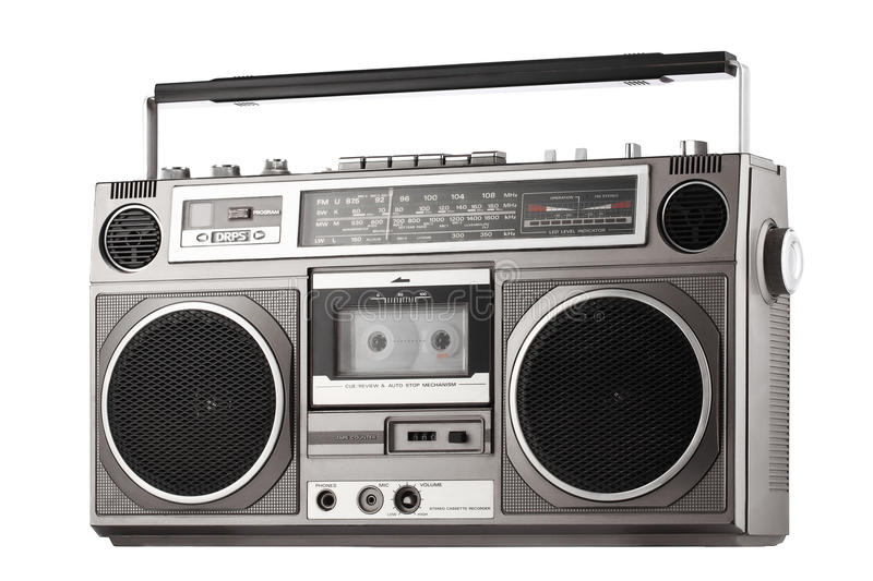 Retro ghetto blaster isolated on white with clipping path. Retro ghetto gray blaster isolated on white with clipping path stock images