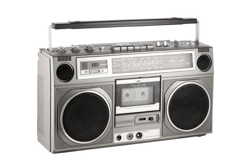 Retro ghetto blaster isolated on white with clipping path. Retro ghetto blaster isolated on white, clipping path included stock image