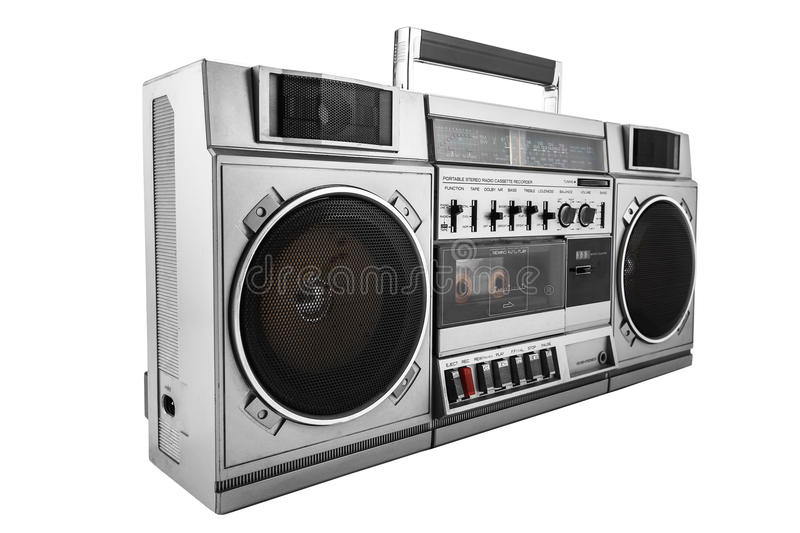 Retro ghetto blaster isolated on white with clipping path. Retro ghetto blaster isolated over white with clipping path royalty free stock photos