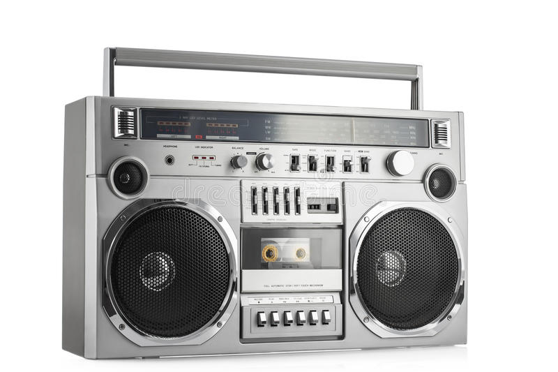 Retro ghetto blaster isolated on white with clipping path. Retro sterio ghetto blaster isolated on white with clipping path royalty free stock image