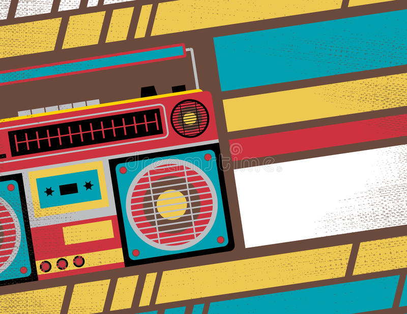 Retro Ghetto Blaster Stereo Club Flyer. Retro Styled Club Flyer featuring Old School Ghetto Blaster Stereo in Funky Bright Colours vector illustration