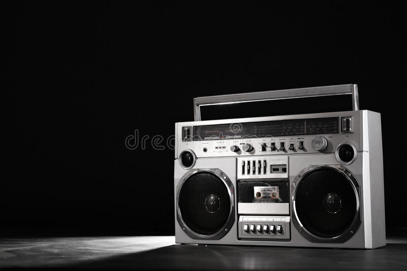 Retro ghetto music blaster isolated on black with clipping path. Retro ghetto blaster isolated on black background with clipping path stock photography